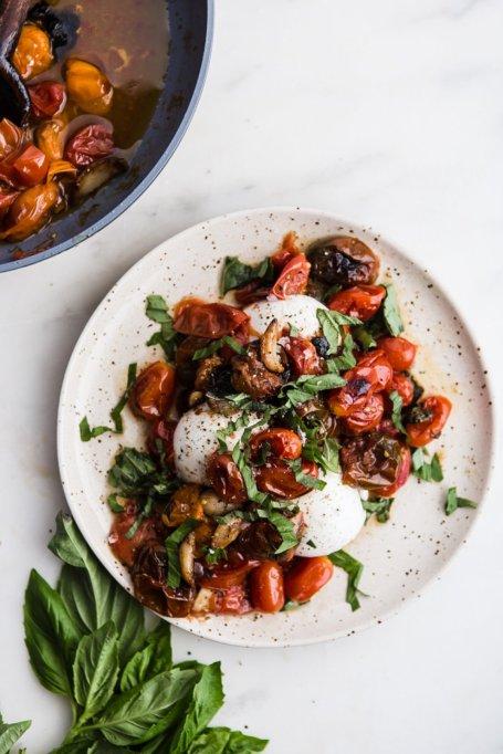 Braised Tomatoes With Burrata