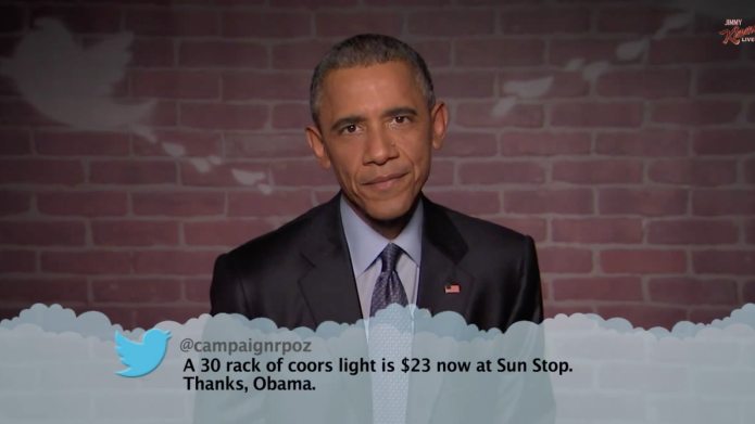President Obama reads mean tweets on