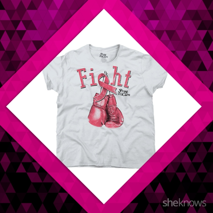 FIght, boxing gloves, breast cancer shirt