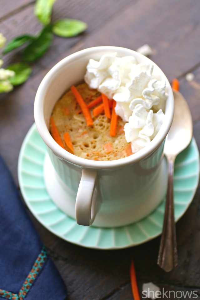 Enjoy a single-serve treat, just for you! Carrot cake mug cake hits the spot.