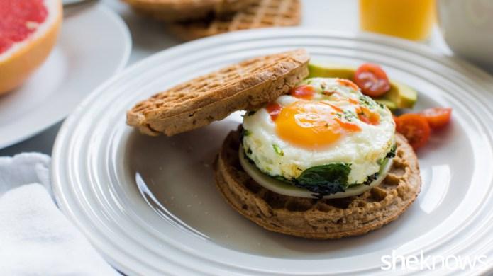 Easy waffle breakfast sandwich for a