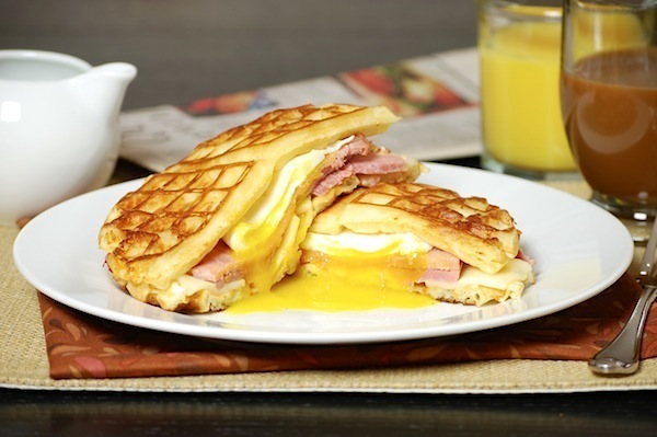 waffle grilled cheese ham sandwich