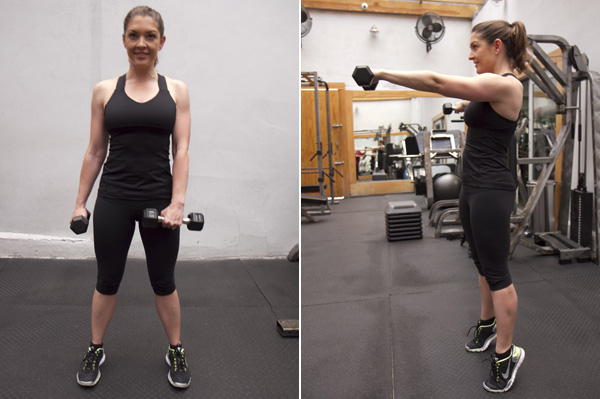 Calf raise with alternating shoulder raise