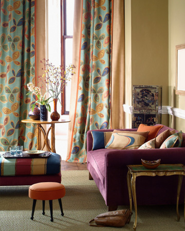 Living room decorated with warm colors