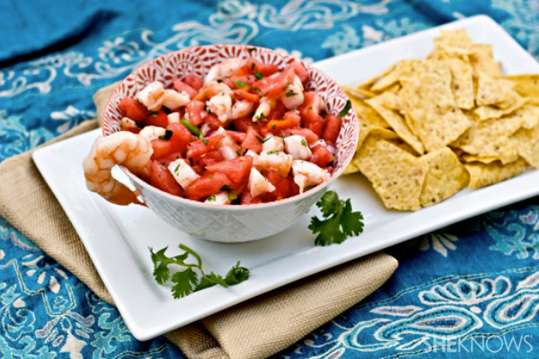 Watermelon shrimp ceviche