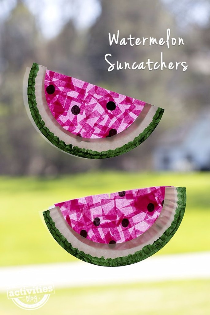 Watermelon suncatchers DIY summer activities