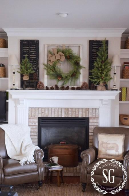 rustic farmhouse fireplace holiday decor