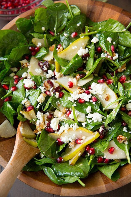 Yummy Winter Salads You'll Actually Crave   Pear Pomegranate Spinach Salad