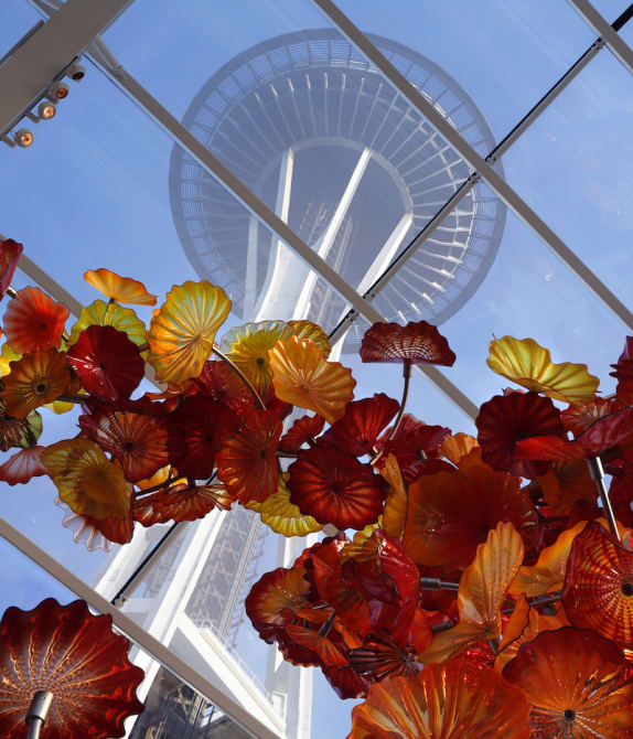 Dale Chihuly Garden and Glass in Seattle, with Space Needle