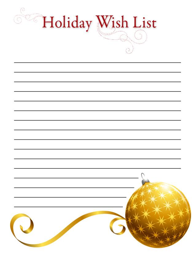 photo regarding Wish List Printable referred to as Printable Holiday vacation desire lists SheKnows