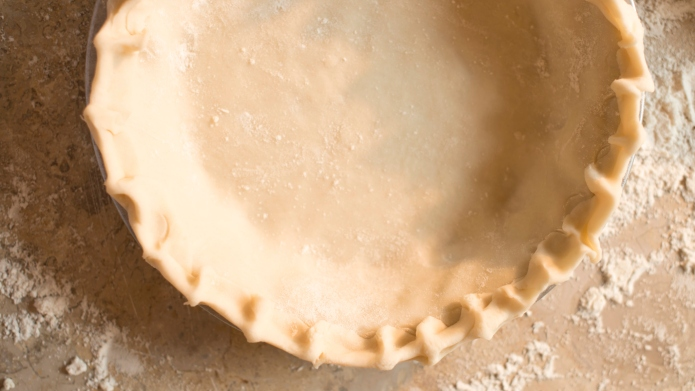 Close up of empty pie shell