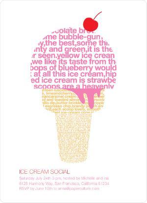 Cute ice cream-themed party invites
