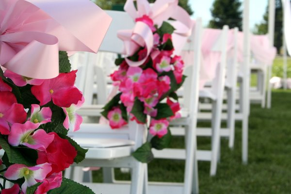 Wedding aisle with flowers