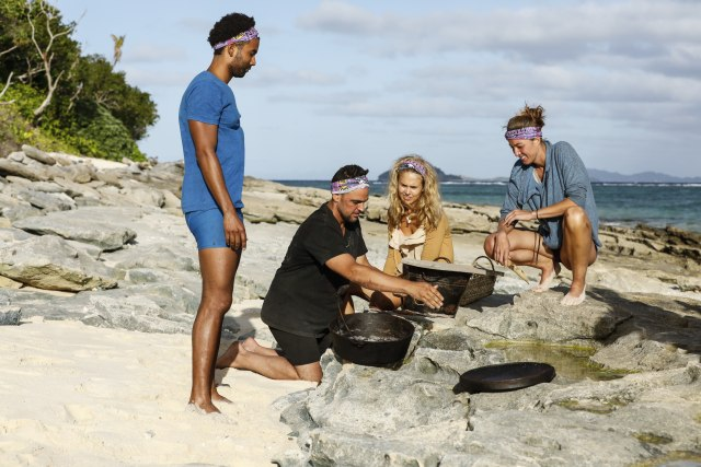 Wendell Holland, Domenick Abbate, Libby Vincek and Morgan Ricke on Survivor: Ghost Island