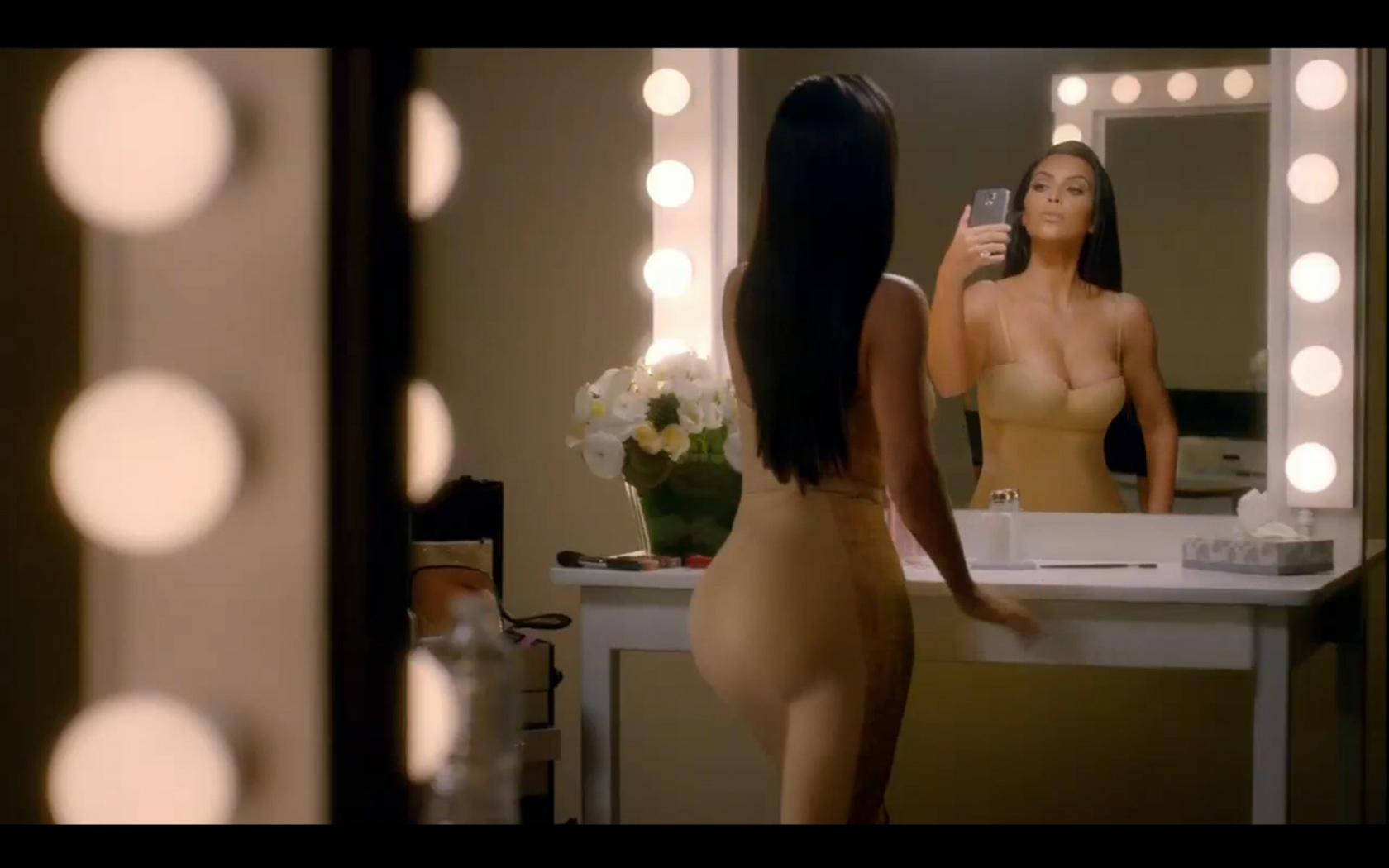 Kim Kardashian's super bowl commercial still of her in Spanx