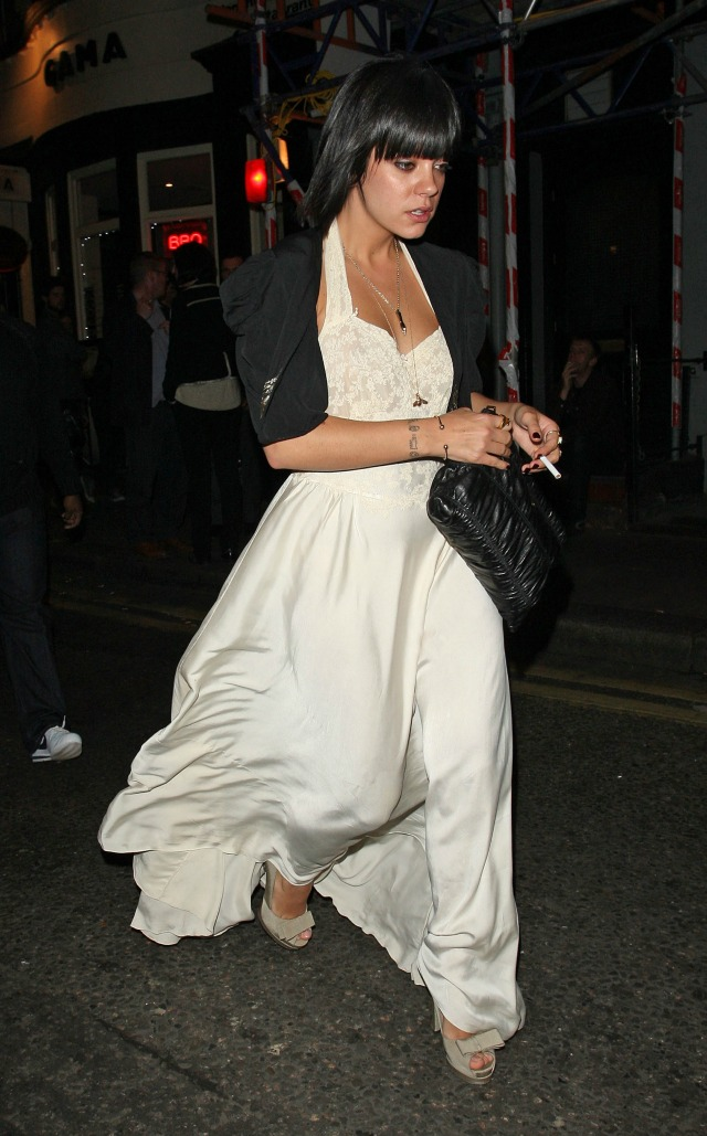 Lily Allen in bridal style evening gown