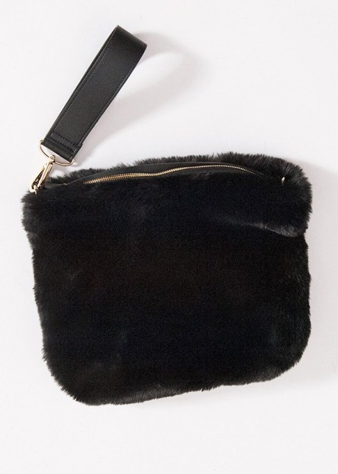 Clutches That Will Actually Hold Your Stuff | Black Faux Fur Clutch