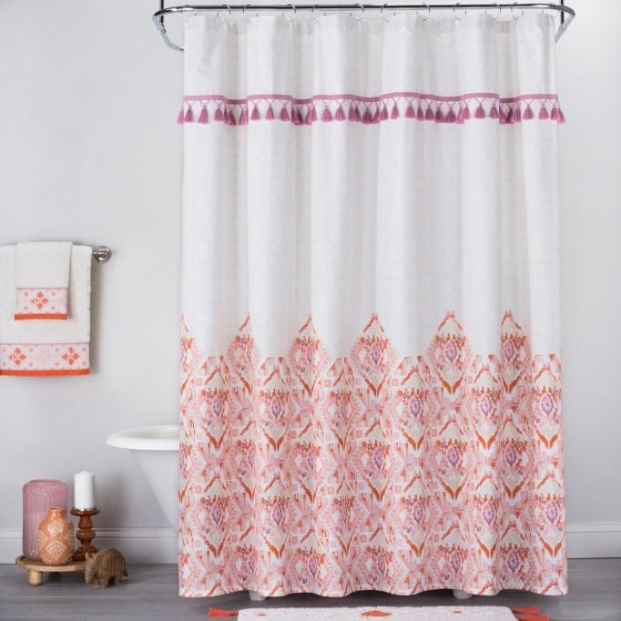 Ikat Print with Fringe Shower Curtain White/Orange