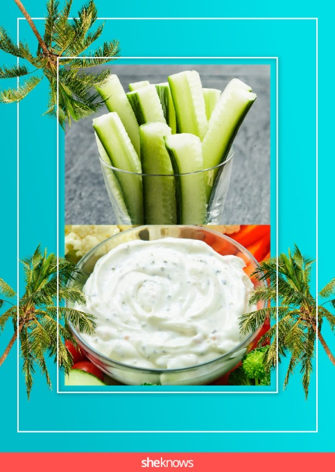 Cucumber spears and ranch dip