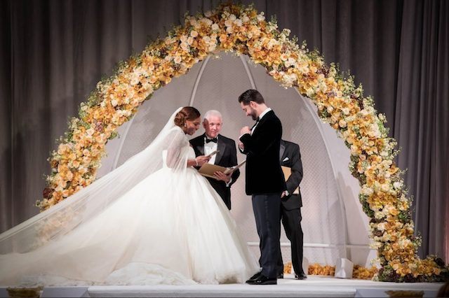 Serena Williams and Alexis Ohanian at the altar on their wedding day
