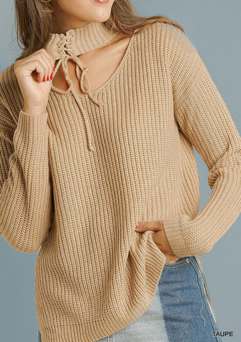 Cozy Sweaters For Under $100: Taupe Tie Neck Sweater | Fall Fashion 2017