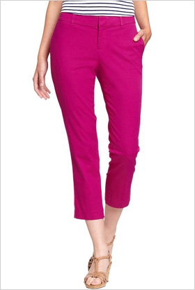 clean-front cotton capris in Raspberry Punch