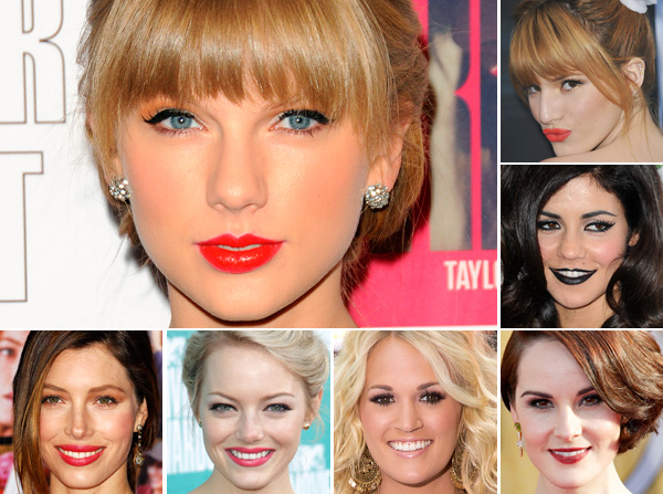 Celebrities wearing a variety of lip colors