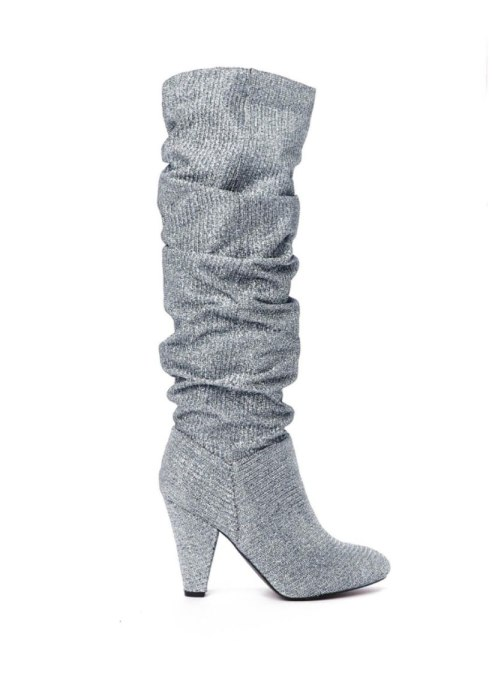 Chic Pairs Of Party Shoes | The Twist Glitter boot at Nasty Gal