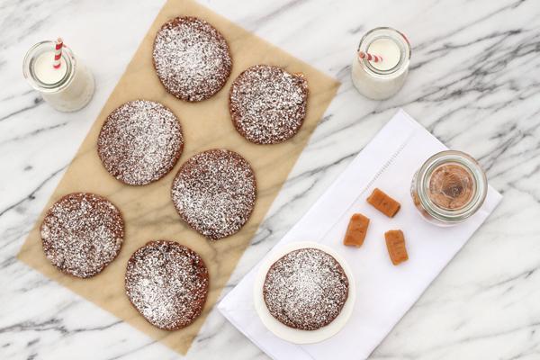 Caramel-stuffed chocolate crinkle cookies