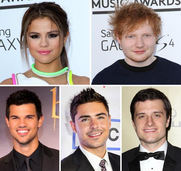 Selena Gomez, Ed Sheeran, Taylor Lautner, Zac Efron, Josh Hutcherson