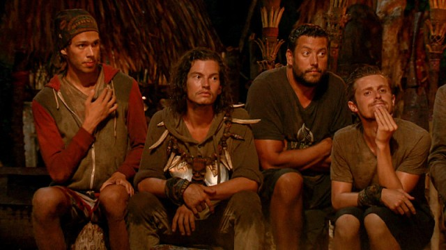 Will Wahl, Jay Starrett, Bret Labelle and Adam Klein at Tribal Council on Survivor: Millennials Vs. Gen-X