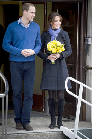 William and Kate leaving the hospital