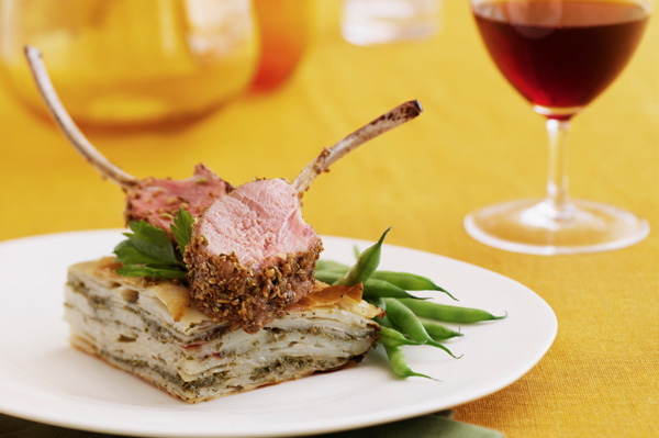 Rack of lamb with red wine
