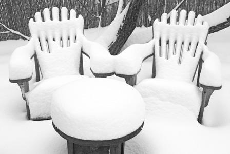 Outdoor furniture in winter
