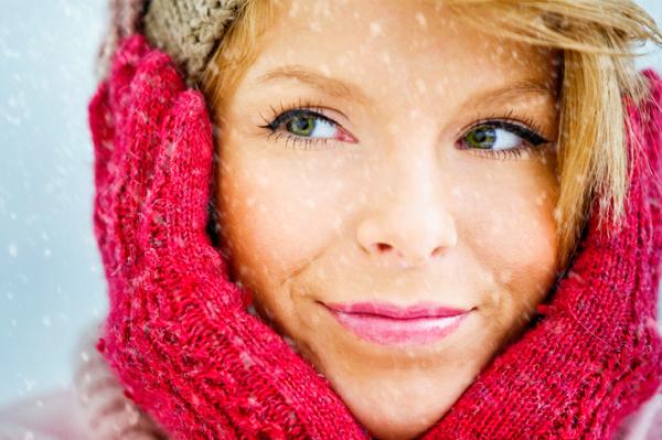 Woman with beautiful winter skin