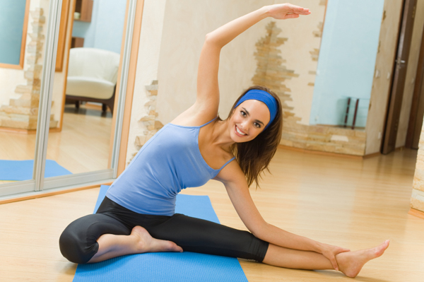 Woman doing indoor exercise