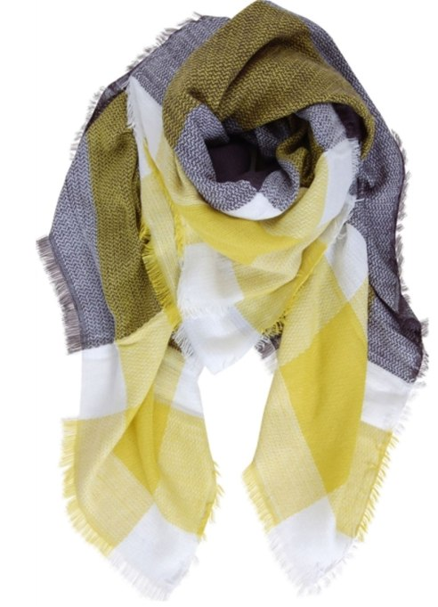 Blanket Scarves to Keep You Cozy This Fall and Winter: Lime green scarf at Humble Chic   Fall and Winter Fashion 2017