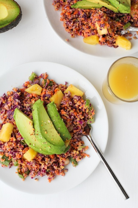 Tropical Rainbow Vegetable Rice with Pineapple Coconut Tahini