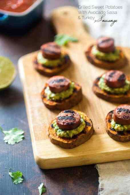 Grilled Sweet Potatoes with Avocado Salsa and Turkey Sausage