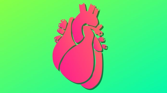 Illustration of a heart on green