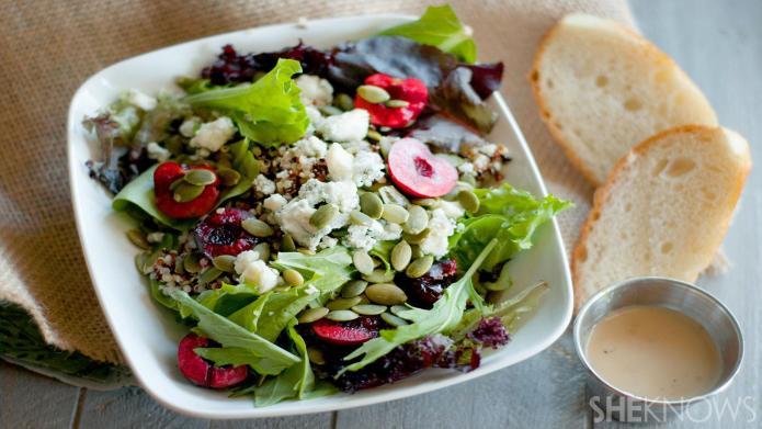 Fresh cherry quinoa salad with pumpkin