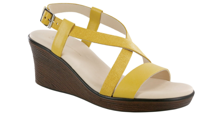 Yellow strappy wedge sandal