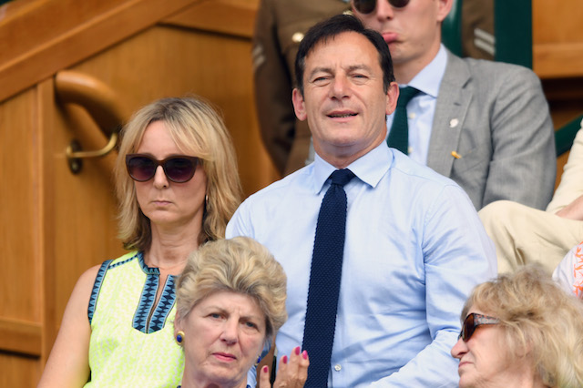 Jason Isaacs and wife Emma Hewitt attend day seven of the Wimbledon Tennis Championships at the All England Lawn Tennis and Croquet Club