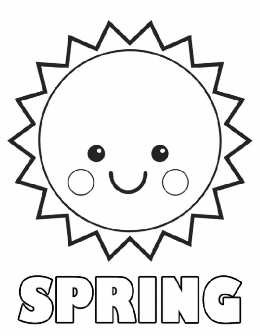 Spring sun coloring page