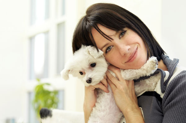 Woman with small dog