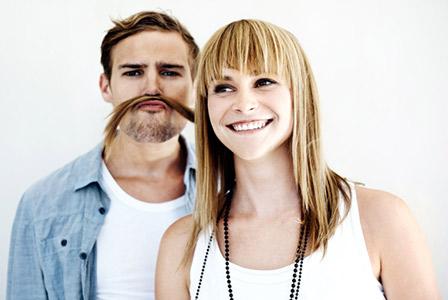 woman and man with mustache