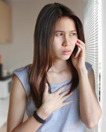 Woman answering phone