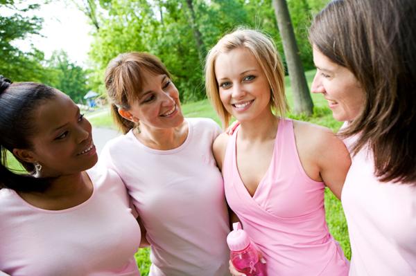 Woman at breast cancer walk