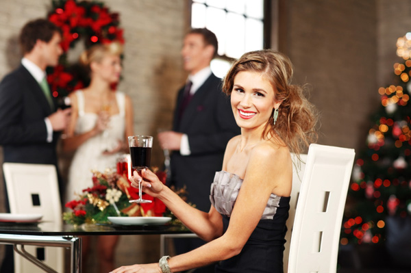 Woman at holiday cocktail party