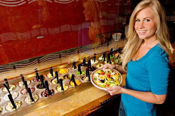 Woman at salad bar